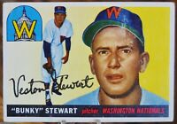 "1955 Topps Baseball Card, #136 ""Bunky"" Stewart, Washington Nationals - VG+"
