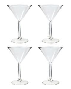 4x Martini Cocktail Glasses Set Clear Reusable Plastic Cup Summer Party Picnic