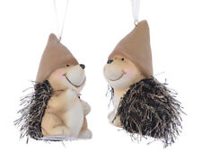 4 x Cute teracotta Hedgehog Baubles Hanging Christmas Tree Decorations 8.5cm