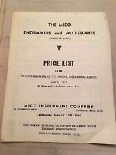 The Mico Engravers and Accessories Price List Six Ratio Engravers Grinders 1971