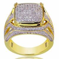 Fashion Women & Men White Topaz 18K Yellow Gold Plated Wedding Engagement Ring