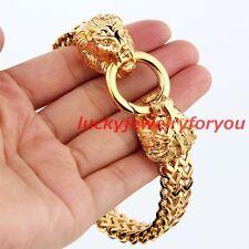 Cool Men's 18K Gold Stainless Steel Lion Heads 12mm Figaro Chain Cuff Bracelet