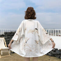 Ladies Crane Japanese Kimono Coats Jackets Yukata Outwear Tops Vintage Harajuku