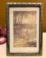 "Elsal Inc Pewter-Tone Metal Rhinestones & Stars Photo Frame Tabletop 4""x 6"" Cute"