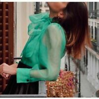 ZARA SOLD OUT ORGANZA  BLOUSE WITH BOW SEMI-SHEER GREEN  SIZE XS 2059/ 446