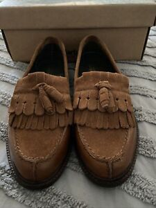 Ladies Barbour Olivia Loafer Shoes Tan Size 5 Leather Suede New
