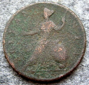 GREAT BRITAIN GEORGE II 1729 - 1739 HALFPENNY, US COLONIAL COIN, COPPER