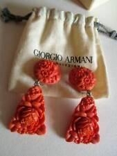 RARE Runway Vintage GIORGIO ARMANI Earrings Coral resin floral clip-on Designer!