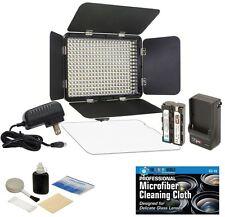 LED-330X Variable-Color On-Camera LED Video Light Kit + MicroFiber Cloth +Bundle