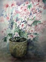 "ORIGINAL ART Watercolor Painting Pink Flowers Joan Perry (1928-2019) 24""h X 18""w"