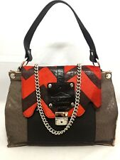 PAKABA Rare Red Goat, Black Taupe Brown Leather Tote Messenger Hand Shoulder Bag