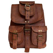 Goat Leather Unisex Small Backpack Rucksack Travel Bag Weekender Picnic School