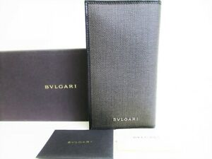 Auth BVLGARI Weekend Gray PVC Canvas Leather Bifold Long Wallet Purse #7687