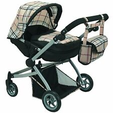 Babyboo Deluxe Twin Doll Pram/Stroller Beige Plaid & Black with Free Carriage...