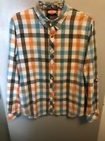 Mambo Australia Men's Button Shirt L/S Multicolor Plaid Soft Cotton Size Large