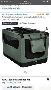 Amazon Basics Premium Folding Portable Soft Pet Crate -Brand New- Grey- L/91cm