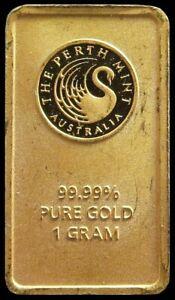 THE PERTH MINT AUSTRALIA GOLD SWAN 1 GRAM .9999 FINE BAR