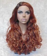 Long Thick Curly Skin Side Part Black/Auburn Heat Ok Full Synthetic Wig - 611