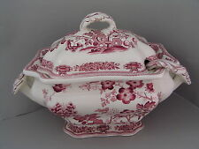MASONS PINK MANCHU LARGE SOUP TUREEN AND LADLE.
