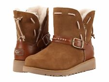 UGG TACEY CLASSIC KIDS 1015439 SUEDE CHESTNUT SHEEPSKIN BOOTS SIZE US 1 ~NEW