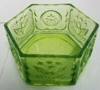 Vintage Green Glass Candy Dish Trinket Bowl Patriotic Symbols Pressed Glass