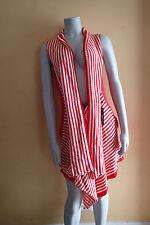 240$ BCBG MAXAZRIA cardigan,sweater coat ,.xl red,WHITE,LONG,VEST,STRIPES,AB