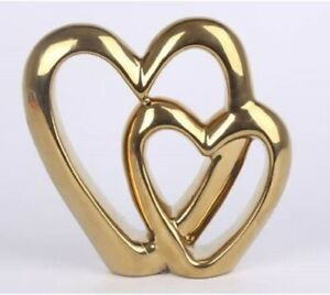 Double/Dual/Twin - Gold Effect - Heart Ornament