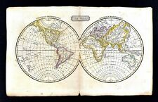 c.1821 Jedidiah Morse Map World in Hemispheres - North South America Europe Asia