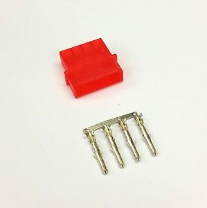 PK OF 5 - MALE 4 PIN MOLEX PC PSU POWER SUPPLY CONNECTOR - RED INC PINS
