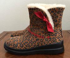 I Heart UGG Girls Kids Size 4 Chestnut Brown Knotty Leopard Print Short Boots