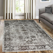 Traditional Vintage Style Persian Rug Design Oriental Faded Brown Beige Carpet