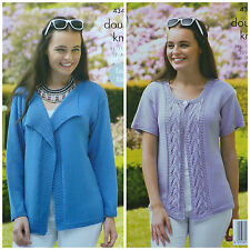 Knitting Pattern Donna Giacca in Maglia Facile e pannello in pizzo Cardigan Bamboo DK 4343