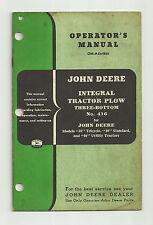John Deere No. 416 Three Bottom Integral Plow Operators Manual 40 Tractor