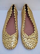 ALAIA gold laser cut leather ballet flats shoes Italian size 38 WORN TWICE