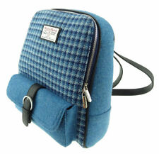 Harris Tweed Hand Woven Womens Blue Checkered Backpack by Glen Appin - Col 63