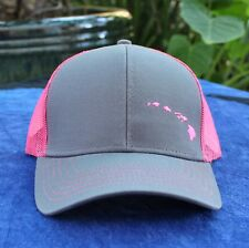 Dark Gray and Hot Pink Hawaiian Islands curved bill hat free shipping