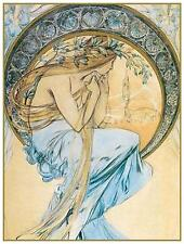Sketch for Poetry Arts Poster by Alfons Maria Mucha Counted Cross Stitch Pattern
