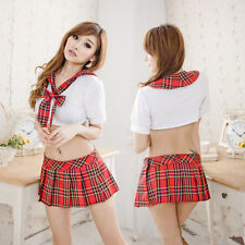 Polyeste Sexy Lingerie Halloween School Girl Uniform Fancy Dress Costume Outfit