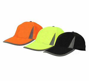 Hi Viz Neon Reflective Baseball Cap High Visibility Yellow Orange Black Sun