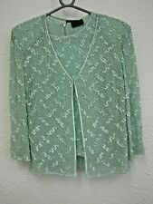 FRANK USHER MINT GREEN TWINSET WITH SEQUINS SIZE UK12 - (EPP)