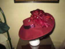 Stylish Vintage Designer Hat ~ Deborah Fashions ~ Red Feathers & Sequins