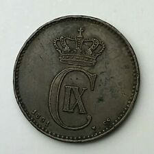 Dated : 1891 - Denmark - 2 Ore - Two Ore Coin - Christian IX