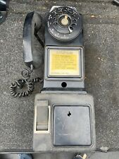 Vintage Black Automatic Electric Co. Pay Phone 3 Coin Slot Rotary Dial