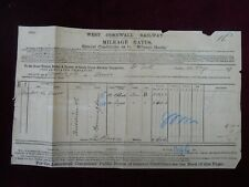 West Cornwall Railway, St. Erth Station, Consignment Note, 12 Aug 1879