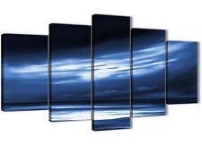 XL bianco blu indaco tramonto astratto tela art - 5 Pezzo-larghezza 160 cm - 5332