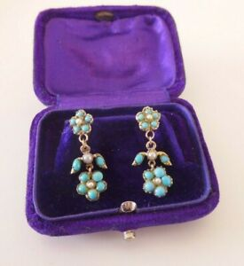 9ct gold natural turquoise seed pearl earrings, boxed Victorian forget me not