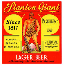 1930s STANTON BREWERY, TROY, NEW YORK STANTON LAGER BEER IRTP 64 OZ LABEL