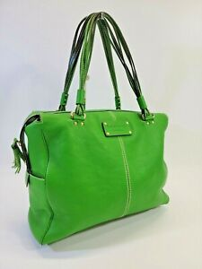 KSD Kate Spade Foster Crossing Green Pebble Leather XL Shoulder Bag Tote Purse