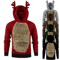 US Men Autumn Winter Hoody Reindeer Feather Hooded Christmas Fur 3D Blouse Top