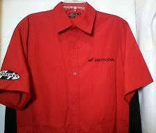Honda Joe Rocket Men Work Casual Shirt Button Up Short Sleeve Cotton Blend Red M